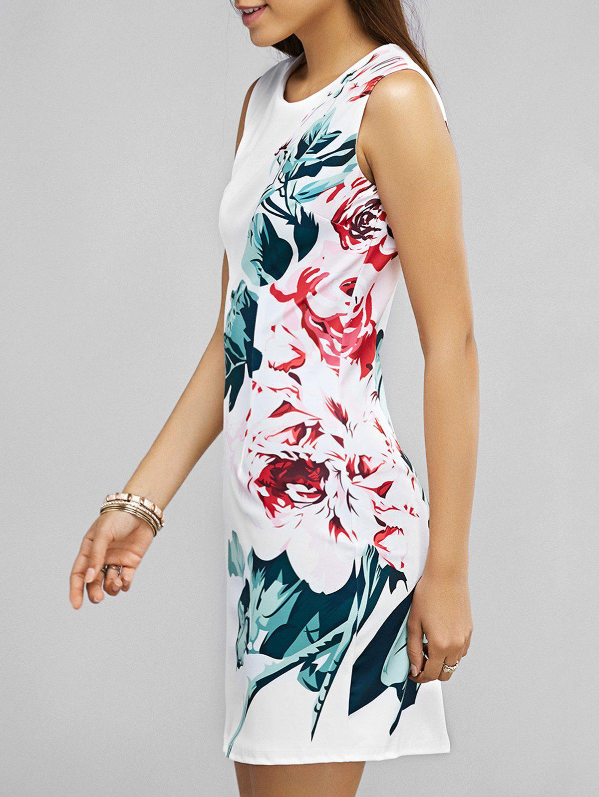 Printed Skinny Sleeveless Dress - WHITE XL