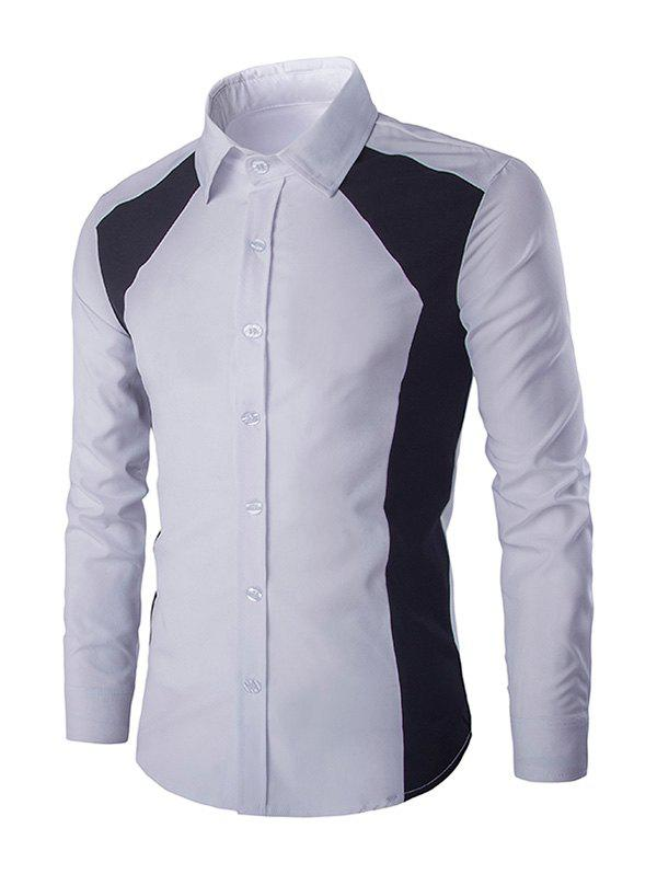 Turn-down Collar Long Sleeves Men's Color Block Shirt - WHITE 2XL