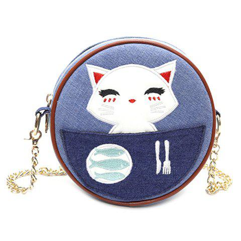 Leisure Round Shape and Cat Pattern Design Women's Crossbody Bag