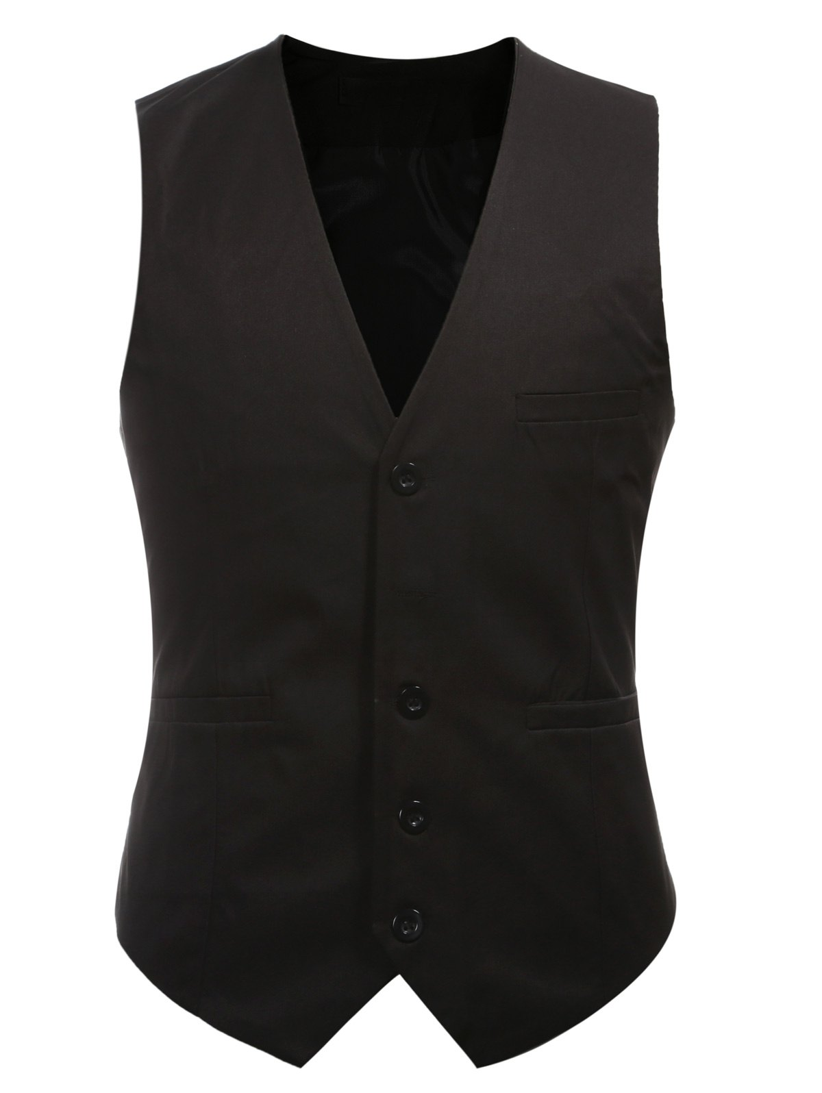 Buckle Back Solid Color Single Breasted Men's Vest - BLACK 3XL