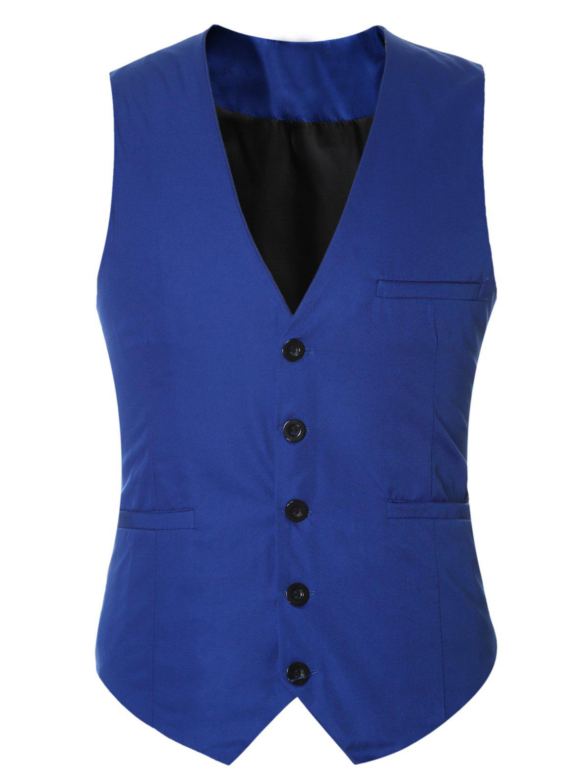 Buckle Back Solid Color Single Breasted Men's Vest the king of style dressing michael jackson