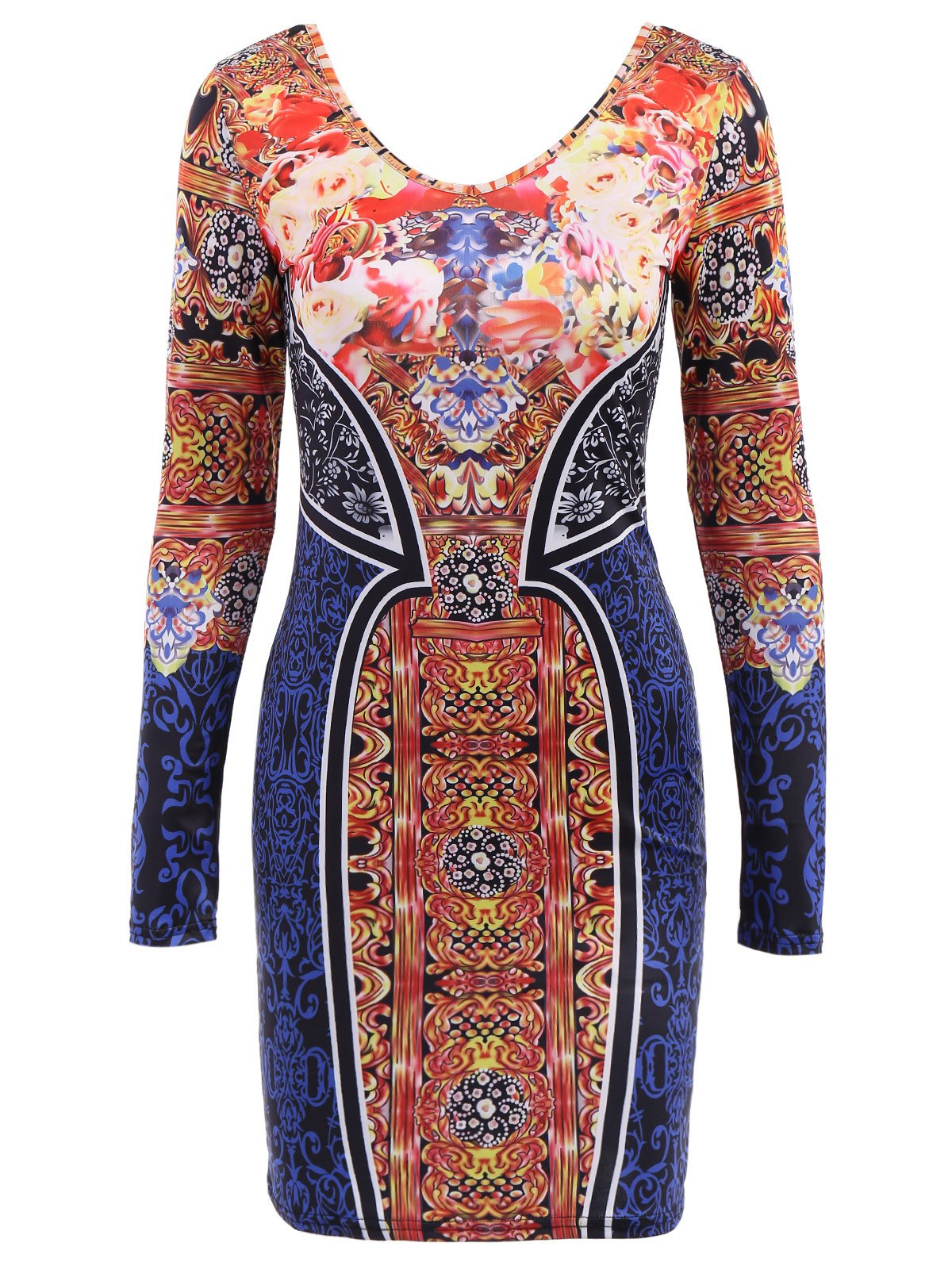 Floral Print Colorful Long Sleeve Scoop Neck Dress For Women - DEEP BLUE M
