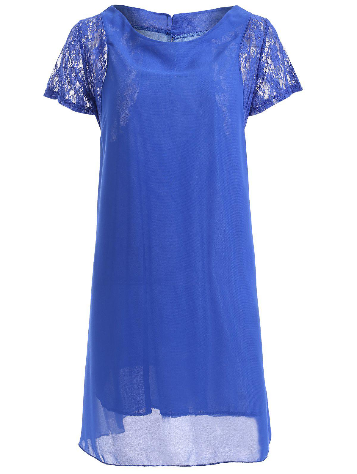 Lace Spliced Short Sleeve Round Neck Chiffon Dress - SAPPHIRE BLUE XL
