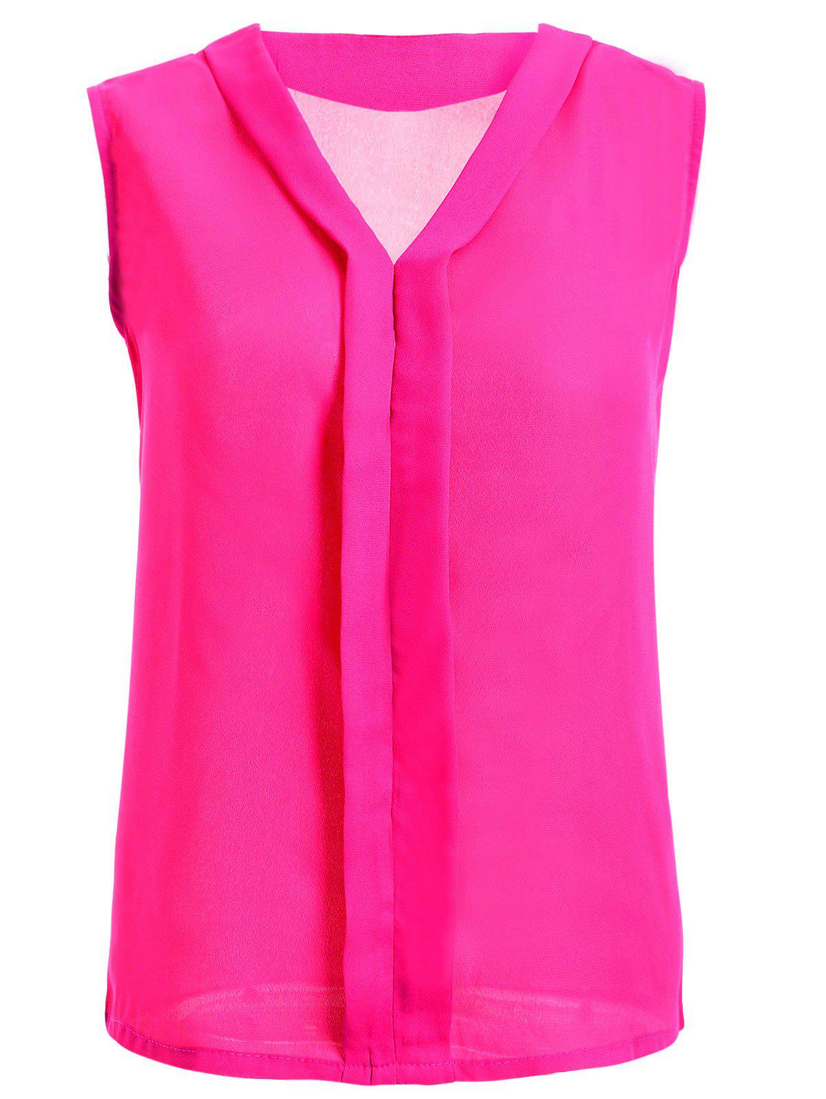 V-Neck Solid Color Women's Chiffon Tank Top - ROSE RED 2XL