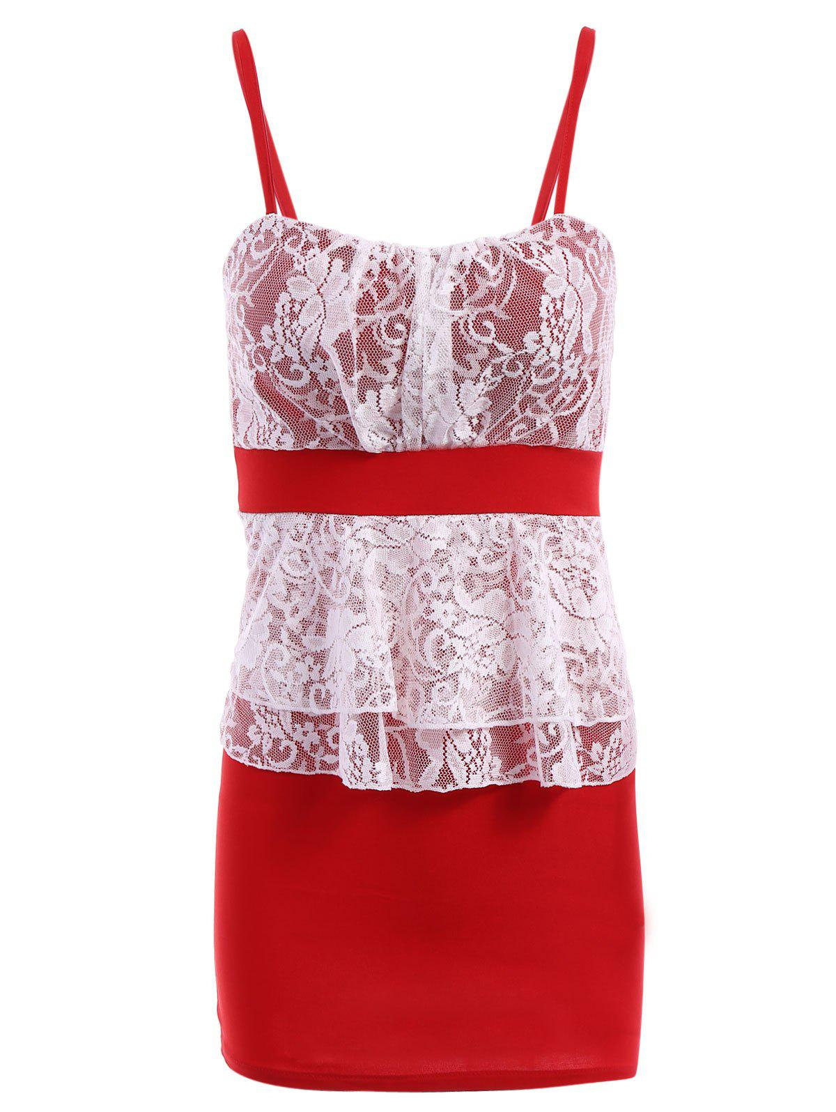 Stylish Women's Spaghetti Straps Lace Splicing Color Block Dress - RED ONE SIZE(FIT SIZE XS TO M)