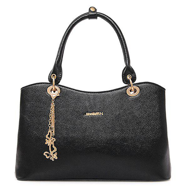 Elegant PU Leather and Chains Design Women's Tote Bag - BLACK