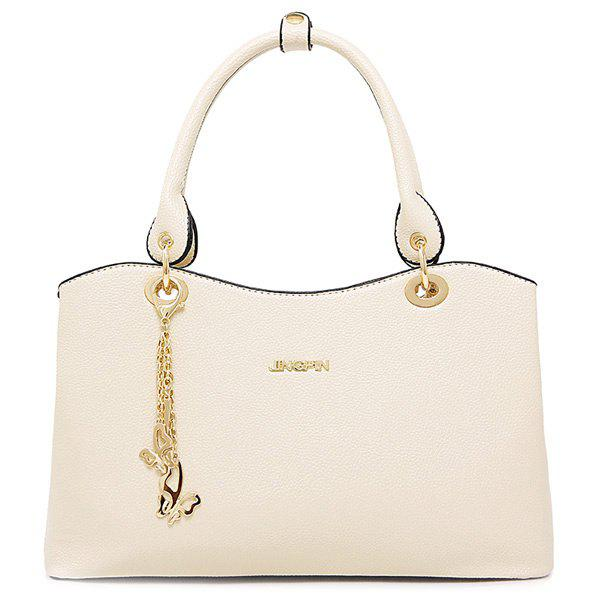 Elegant PU Leather and Chains Design Women's Tote Bag - OFF WHITE