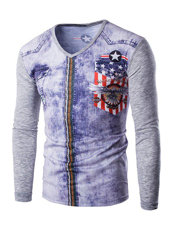 3D Zipper Printing Men's V-Neck Long Sleeves T-Shirt - GRAY XL