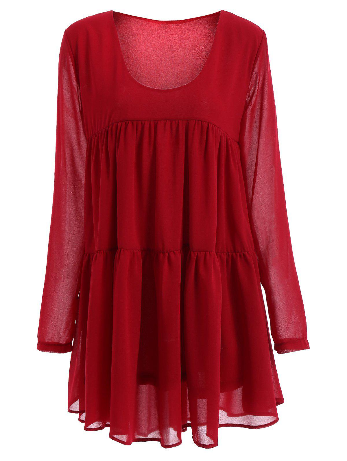 Women's Scoop Neck Long Sleeve Red Pleated Dress - RED M