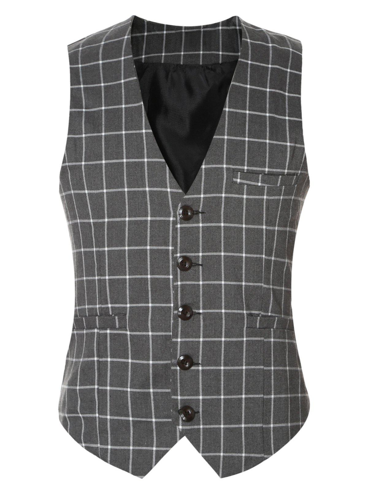 Buckle Back Plaid Single Breasted Men's Vest - GRAY 3XL