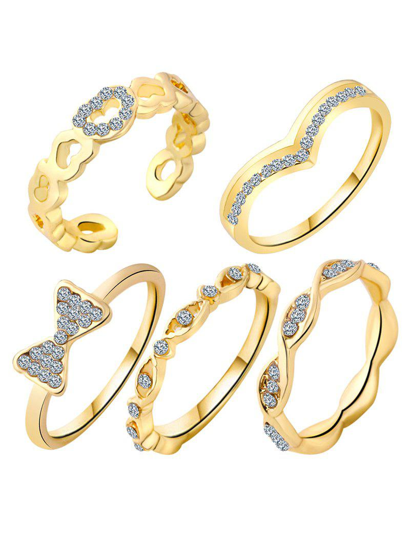 Rhinestone Bowknot Heart Rings - GOLDEN ONE-SIZE