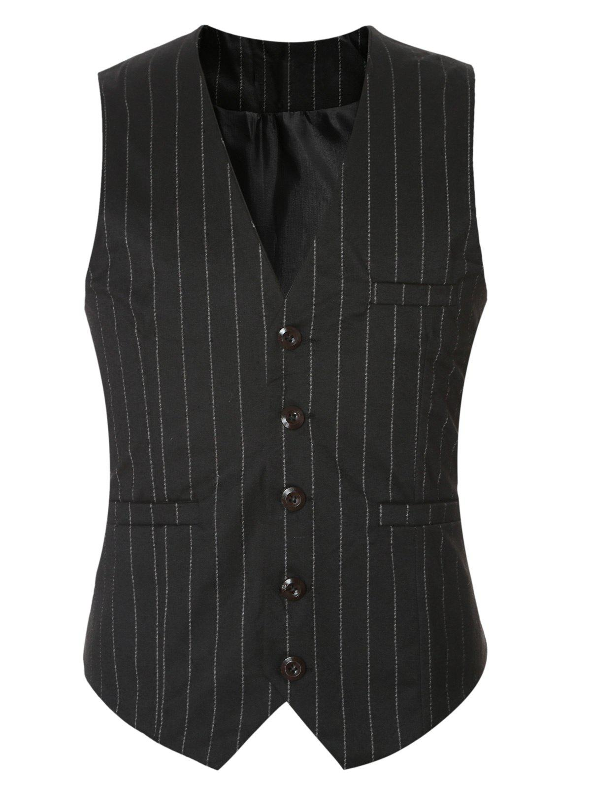 Striped Buckle Back Single Breasted Men's Vest - BLACK 3XL