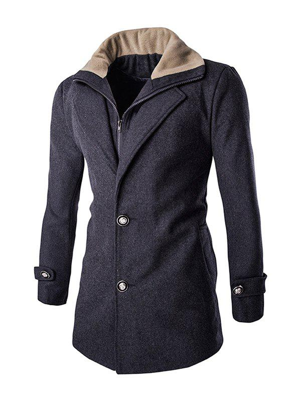 Faux Twinset Double Top Fly Men's Fur Collar Long Sleeves Coat - GRAY 2XL