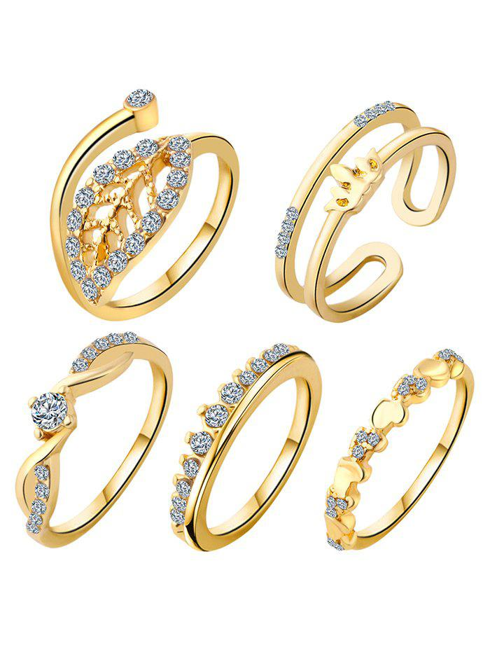 Leaf Crown Wedding Jewelry Rings - GOLDEN ONE-SIZE
