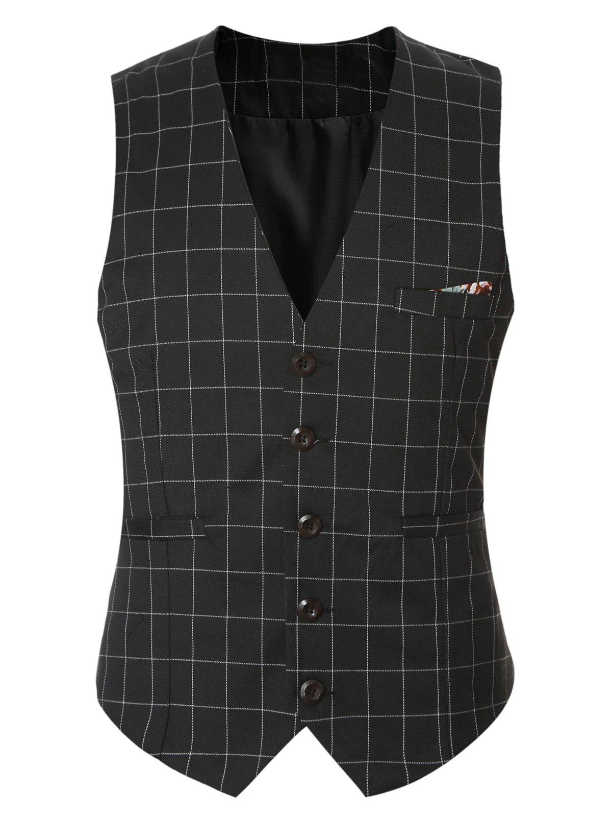 Plaid Buckle Back Single Breasted Men's Vest - BLACK 3XL
