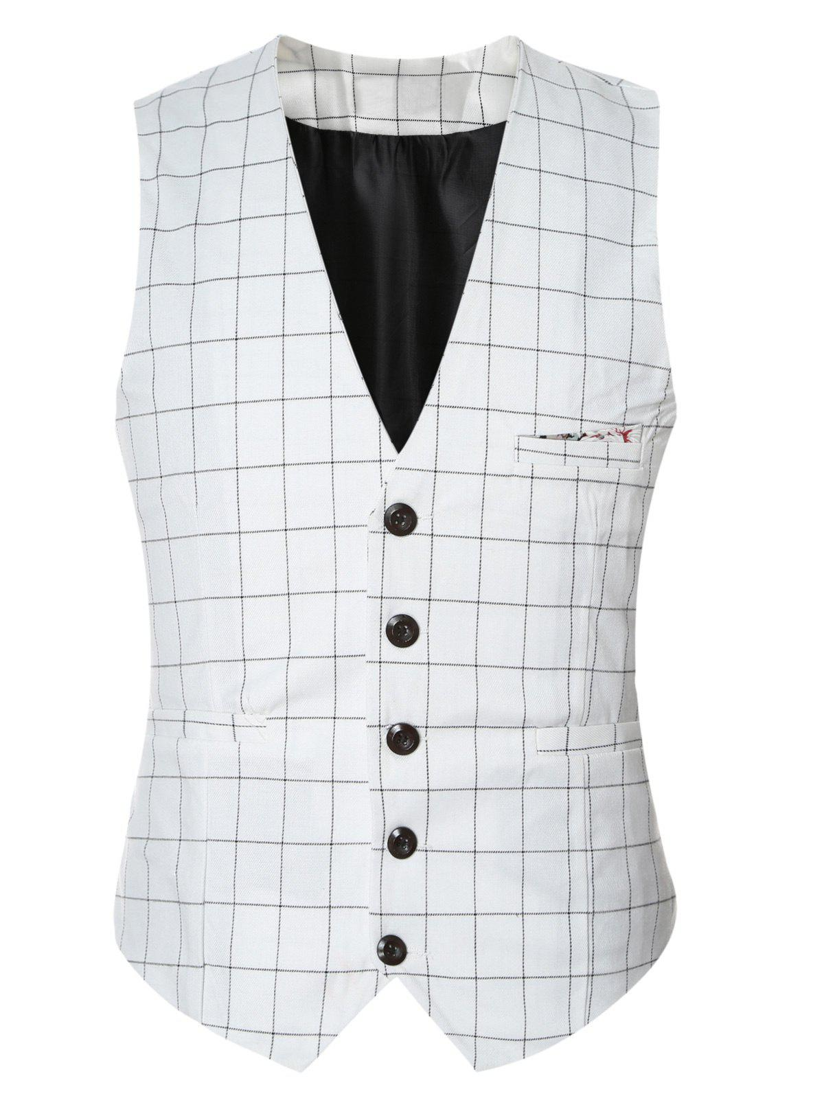 Plaid Buckle Retour Simple Poitrine Mens Gilet - Blanc L