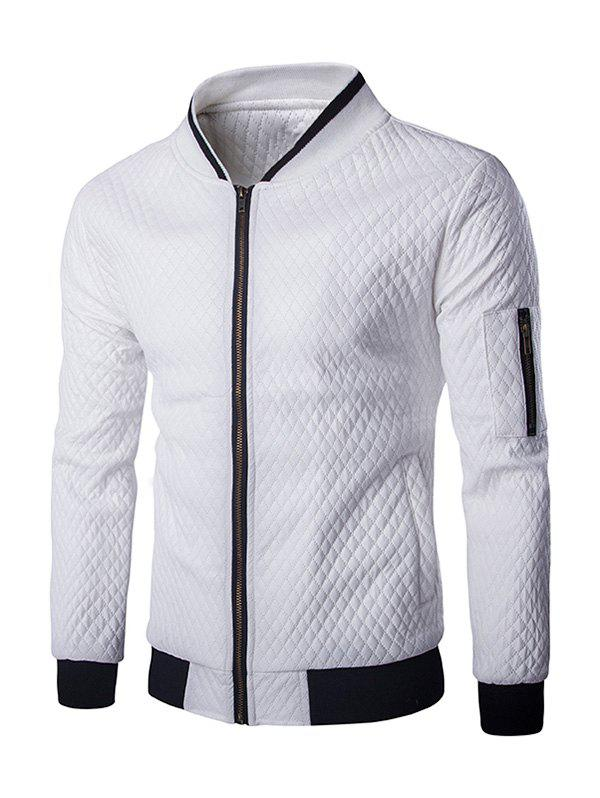 Multi-Pocket Argyle Pattern Stand Collar Long Sleeves Men's PU Leather Jacket - WHITE 2XL