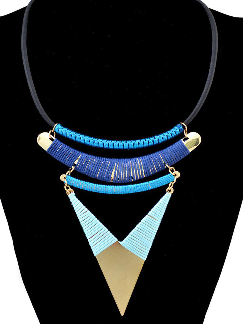 Bohemia Triangle Faux Leather Chain Necklace - BLUE