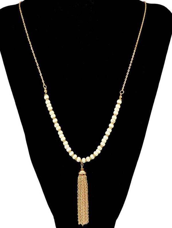 Bohemian Faux Turquoise Bead Chain Tassel Necklace - WHITE