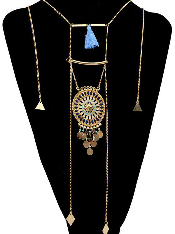 Ethnic Round Tassel Layered Necklace - GOLDEN
