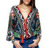 Ethnic Style Plunging Neck Tassel Tie Multicolor Print Wrap Blouse For Women - COLORMIX ONE SIZE(FIT SIZE XS TO M)