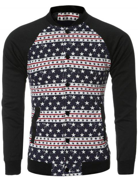 Stars and Stripe Printed Spliced Long Sleeve Bomber Jacket - COLORMIX M