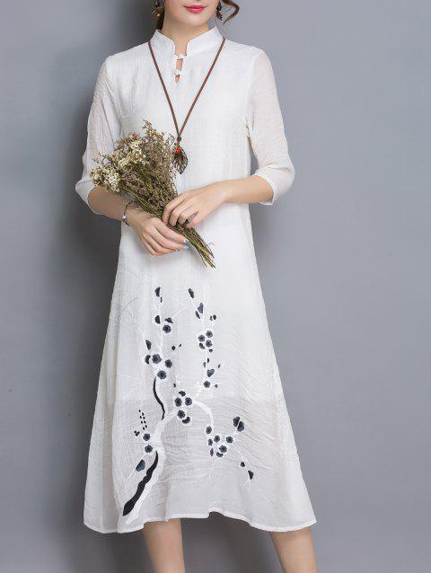 s 'Robe à manches 3/4 Abstract Floral Chic Print Loose-Fitting Femmes - Blanc L