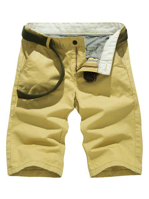 Casual Solid Color Slim Fit Shorts For Men - KHAKI 36