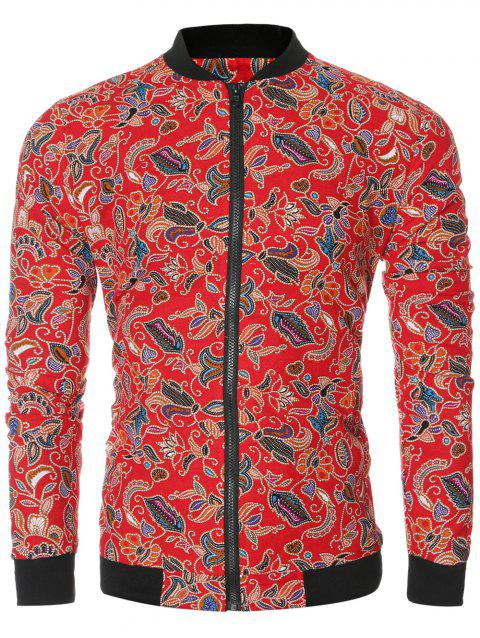 Full Floral Print Bomber Jacket - RED L