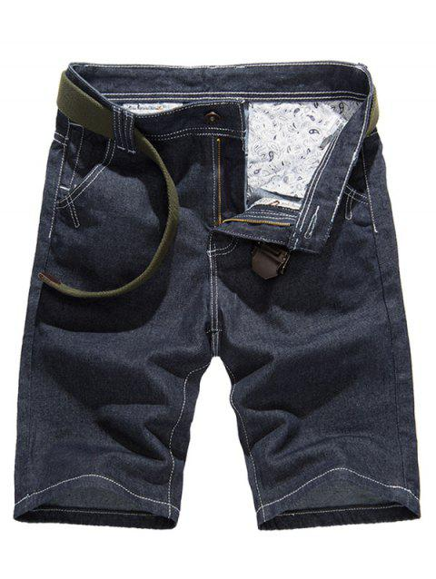 Stitching Design Pure Color Denim Shorts For Men - DENIM BLUE 33