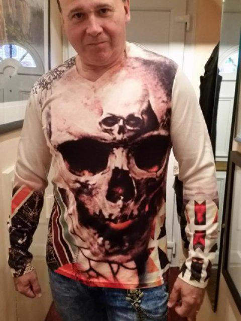 Personality V-Neck 3D Skull Pattern Long Sleeves Men's T-Shirt - COLORMIX L