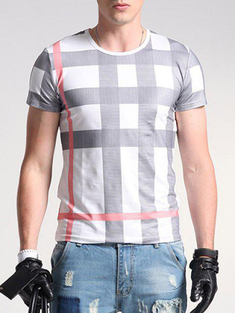Plaid Print Round Neck Short Sleeve Men's T-Shirt - WHITE M