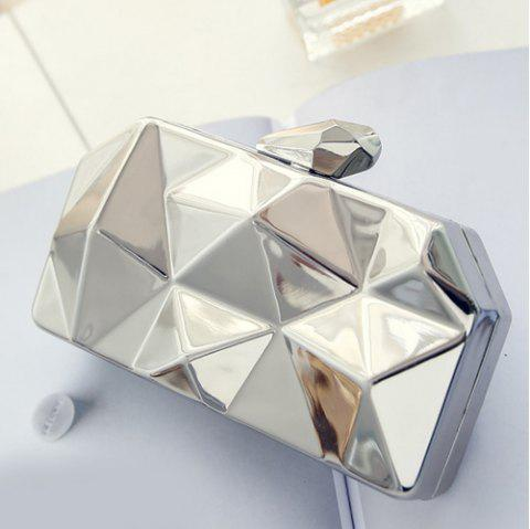 Fashionable Solid Color and Geometric Pattern Design Women's Evening Bag - SILVER