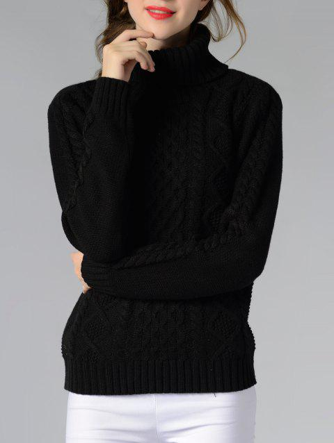 Long Sleeve Turtle Neck Solid Color Sweater - BLACK L