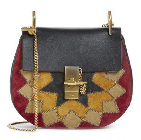Stylish Chain and Multicolor Design Women's Crossbody Bag - BLACK