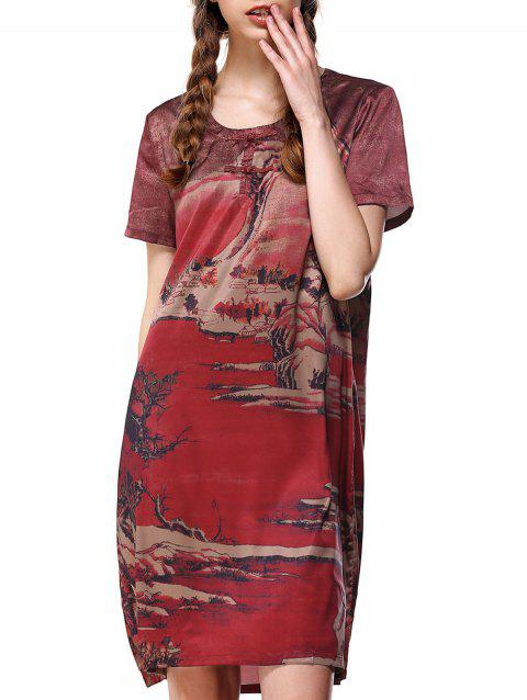 Painting Scoop Neck Loose-Fitting T Shirt Dress - DEEP RED XL