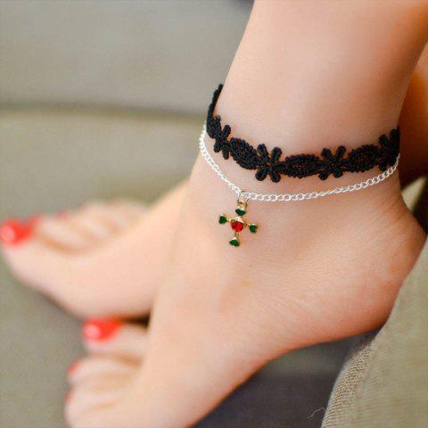 Vintage Heart Cross Charm Anklet - BLACK