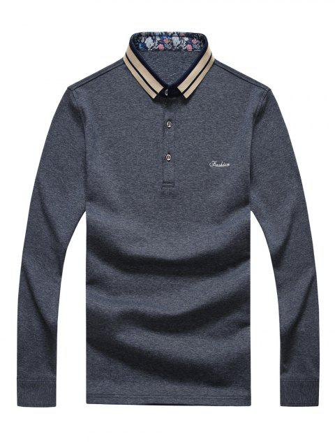 Letter Embroidered Splicing Design Polo Collar Long Sleeve Men's T-Shirt - GRAY 2XL