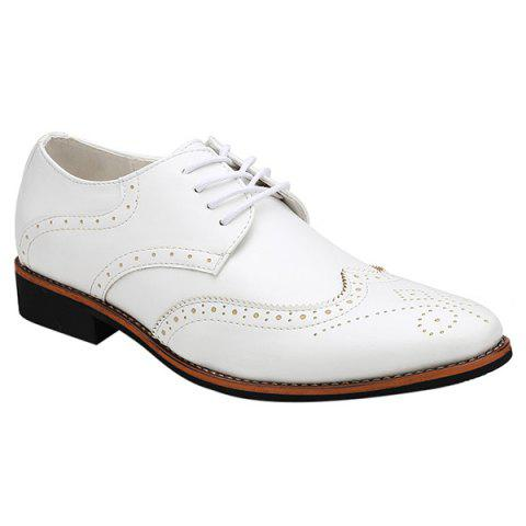Fashion Tie Up and Wingtip Design Men's Formal Shoes - WHITE 40