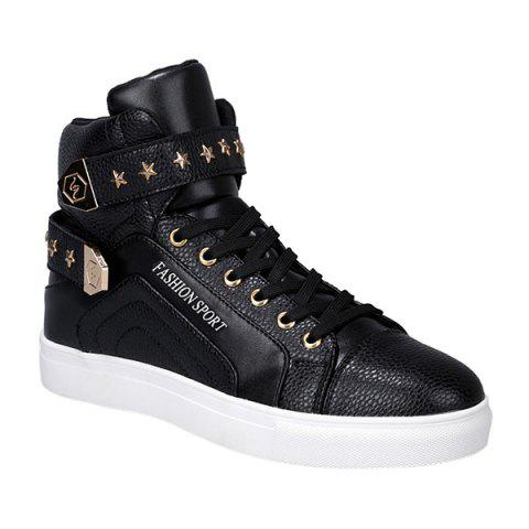 Trendy Tie Up and Metal Design Men's Casual Shoes - BLACK 40