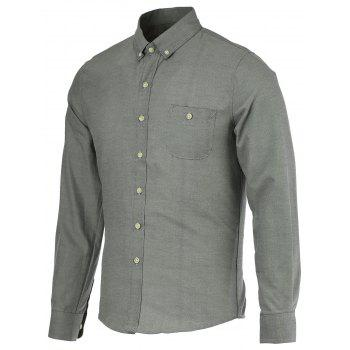 Pocket Design Plus Size Turn-Down Collar Button-Down Solid Color Men's Shirt