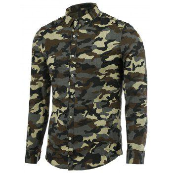 Camouflage Turn-Down Collar Long Sleeve Men's Shirt