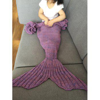 Fashion Knitted Falbala Shape Mermaid Tail Design Blankets For Baby - LIGHT PURPLE LIGHT PURPLE