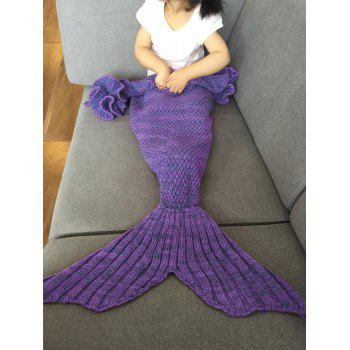 Fashion Knitted Falbala Shape Mermaid Tail Design Blankets For Baby - PURPLE PURPLE