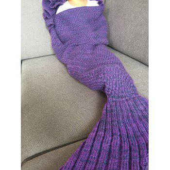 Fashion Knitted Falbala Shape Mermaid Tail Design Blankets For Baby -  PURPLE
