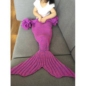 Fashion Knitted Falbala Shape Mermaid Tail Design Blankets For Baby - ROSE RED ROSE RED