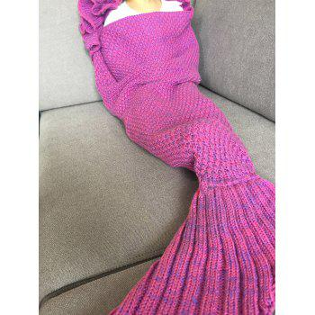 Fashion Knitted Falbala Shape Mermaid Tail Design Blankets For Baby - ROSE RED