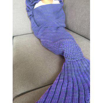 Fashion Knitted Falbala Shape Mermaid Tail Design Blankets For Baby -  BLUISH VIOLET