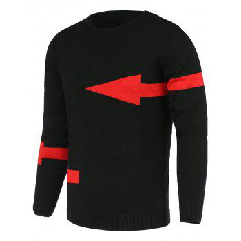 Solid Color Arrows Pattern Slimming Men's Round Neck Long Sleeves Sweater