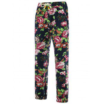 Beam Feet Flower Print Cotton Linen Pants